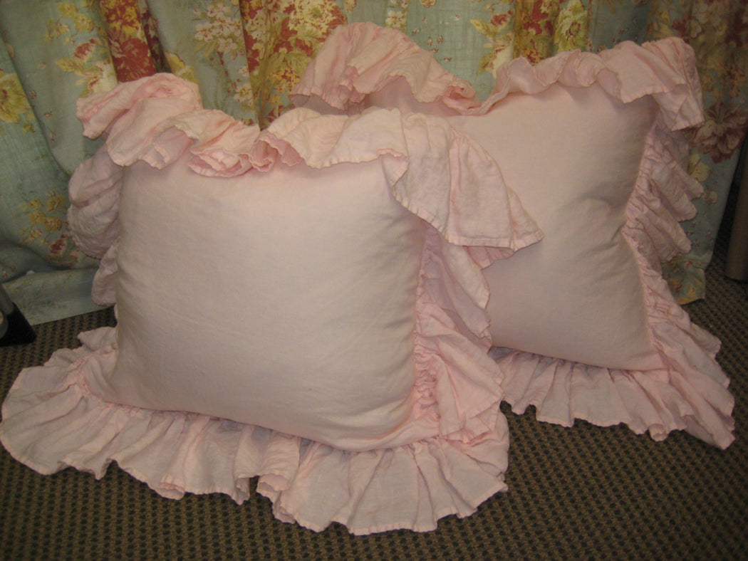 READY TO SHIP-Baby Pink Washed Linen-Pair of Long Ruffled Pillow Shams--Zip Closures-Pillow Size 20x20 Plus Long Ruffled Perimeter