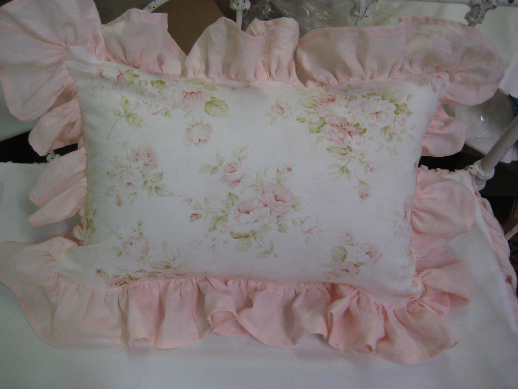 Crib Bedding Separates in Baby Pink Washed Linen-Custom Ruffled Crib Rail Coverlet-Ruffled Crib Pillow