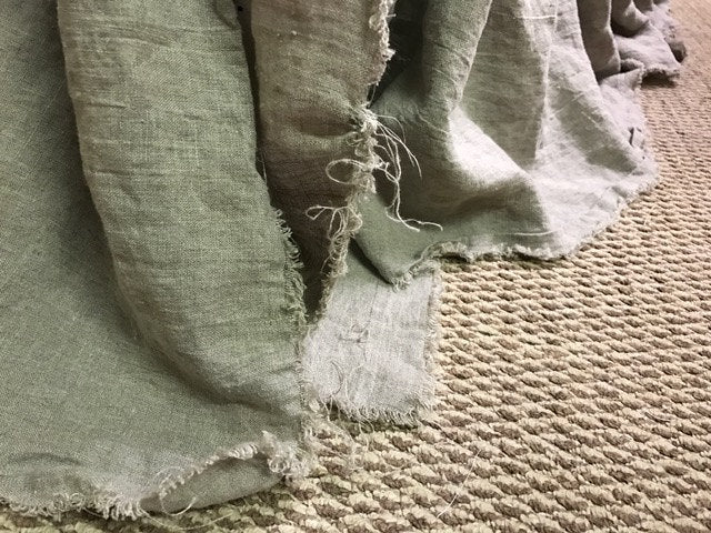 Natural Washed Linen Tattered Crib Bedding-Shabby Nursery Linens-Washed Linen Torn Edge Crib Bedding-Handmade Crib Linens-Flax Torn Linens