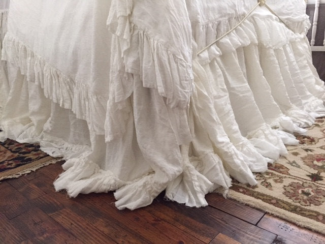 Romantic Washed Linen Bedding-Queen-Long Ruffled Duvet and Torn Ruffle Bed Skirt