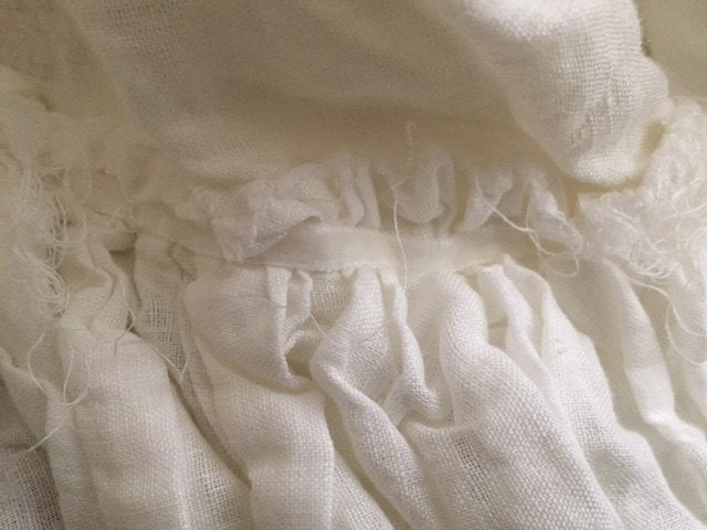 Romantic Washed Linen Bedding-King-Long Ruffled Duvet and Torn Ruffle Bed Skirt-Shams
