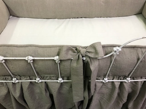 Nursery Bedding in Washed Linen-Flax Heavy Weight Tailored Bumpers-Gathered Crib Skirt-Fitted Crib Sheet