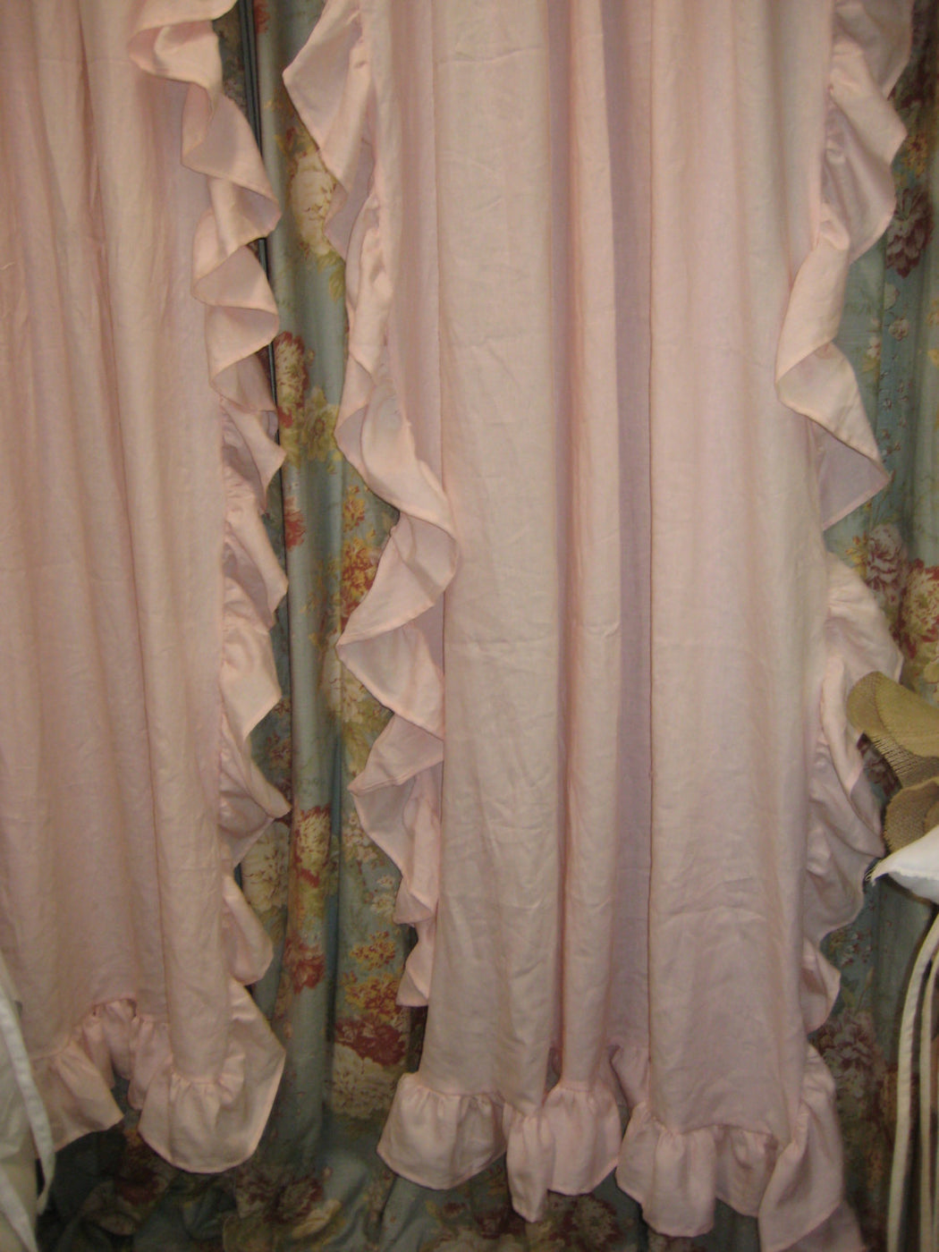 Custom Ruffled Curtains- Romantic Style Rod Pocket Curtains with Long Ruffles Sewn onto Sides and at Hem-Single Width Panels-Ruffled Linens