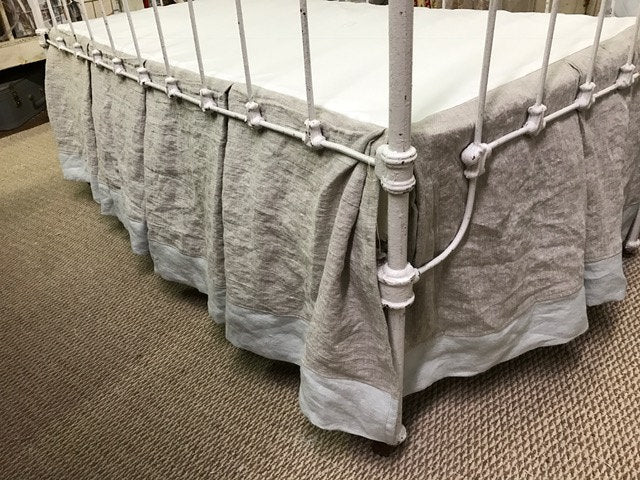 Tailored Custom Crib Bedding Made with Washed Linen in Oatmeal-Dove-Vintage White--Tailored Bumpers and Pleated Crib Skirt-Ruffled Pillow