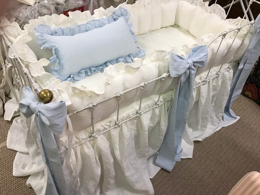 Ruffled Crib Bumper and Gathered Crib Skirt----Sash Separates-Large Crib Pillow---Made to Order Crib Linens