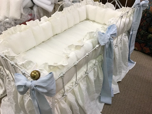Vintage White and Baby Blue Ruffled Crib Linens-Sash Separates-Large Crib Pillow