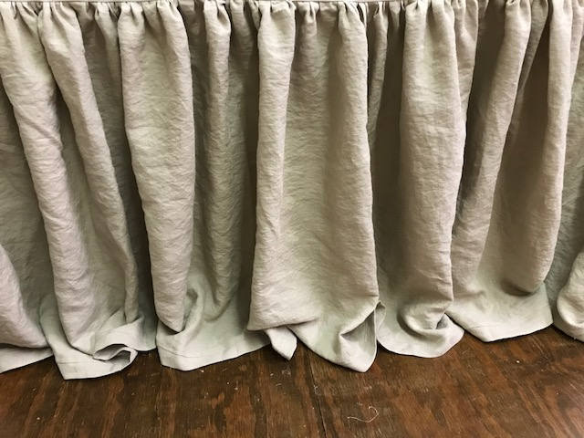 "Custom Detail Extra Long Washed Linen Gathered Bedskirt--FULL-QUEEN-KING Bed Size Gathered Skirt--26"" Finished Length with Flange Hem Detail"
