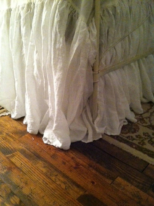 "Gathered Bed Skirt-17""-Vintage White Washed Linen-For Kirksey-Romantic Linen Bedding Separates-Full Size Bedding-Long Gathered Bed Skirt"