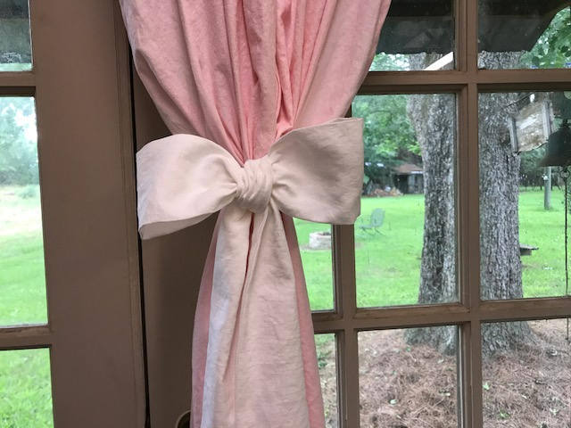 Pair of Washed Linen Unlined Rod Pocket Curtain Panels--- Two Over-Sized Bow Style Tie Backs with Sashes -Linen Curtains-Washable Curtains