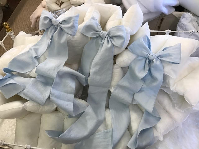 Crib Skirt and Bows-Washed Linen--Casual Style Washed Linen Crib Bedding-Storybook Crib Skirt--Set of Three Over Sized Crib Bows/Sashes