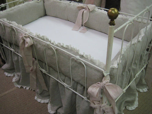 Washed Linen Ruffled Crib Bedding-Oatmeal and Vintage White-Blush Pink Detail-Blush Pink  Ruffled Pillow