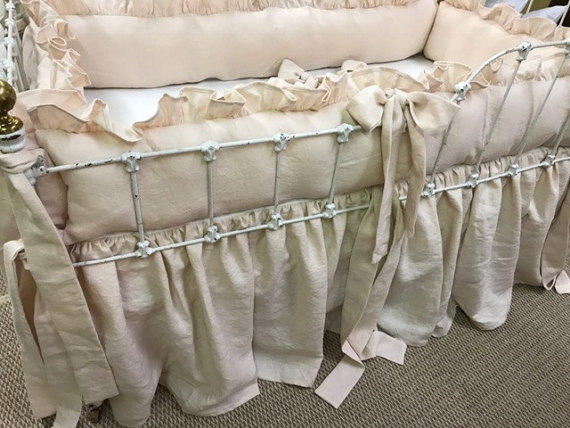 Heirloom Blush Pink Crib Bedding-Ruffled Bumpers with Sash Ties-Removable Bumper Pad Inserts-Storybook Crib Skirt-6 Curtain Bows