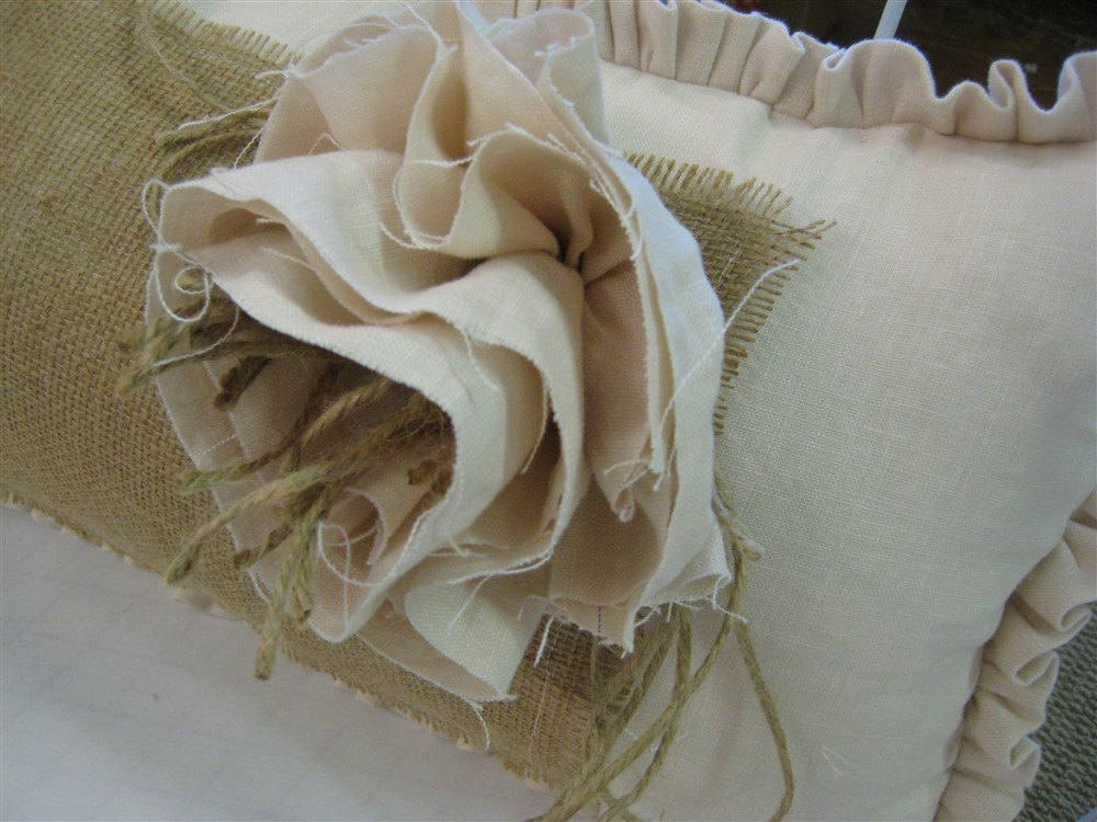 Shabby Artisan Style Ruffled Pillowslip-One Inch Ruffled Washed Linen and Burlap Pillow Sham- Shabby Flower Detail-French Style Linen Decor