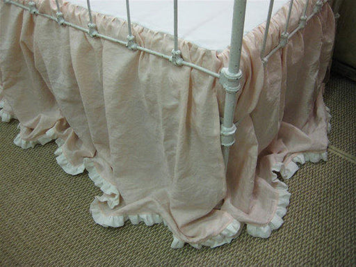 CRIB SKIRT ONLY----Ruffled Hem Crib Skirt in Washed Linen