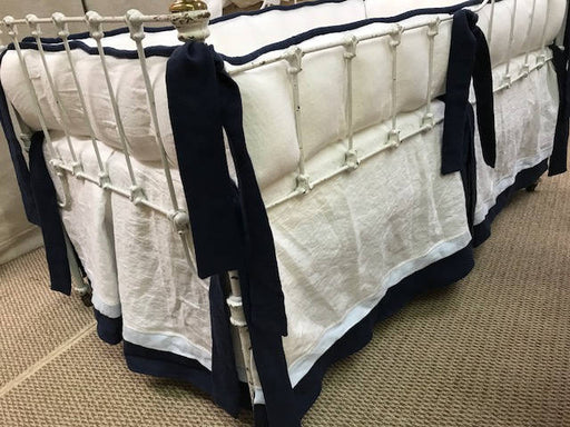 Handmade Crib Bedding in Cobalt Blue and Bright White Washed Linen-Made in USA-COTTAGEANDCABIN-Baby Bedding