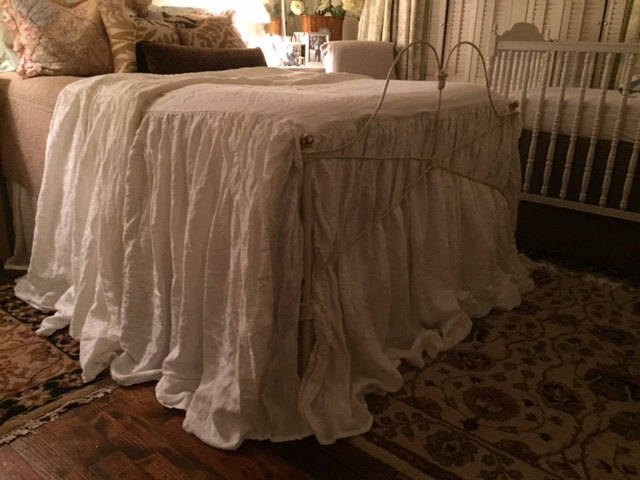 Extra Long Gathered Washed Linen Bedspread-Skirted Linen Coverlet-Skirted Bedspread-Fitted Linen Bedspread-Handmade Washed Linen Bedding