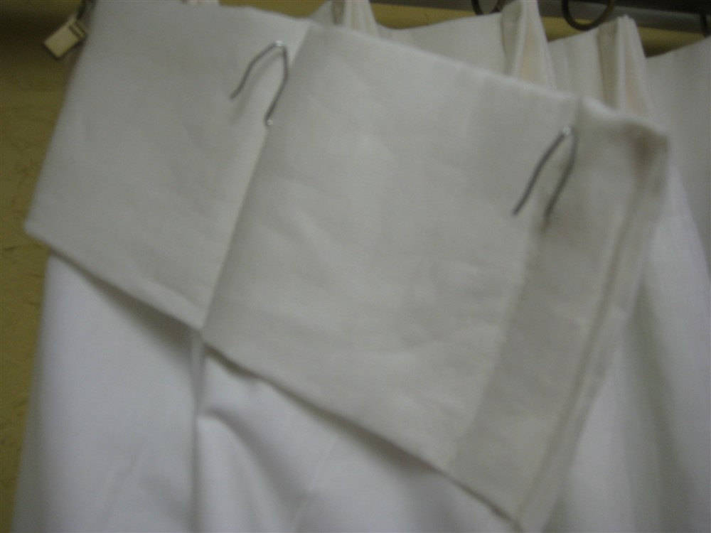 Pleated Linen Drapery-Extra Wide Windows-Off White Linen-Blackout Interlining-White Drapery Lining Finish-Euro Pleats-Made to Order-One Pair