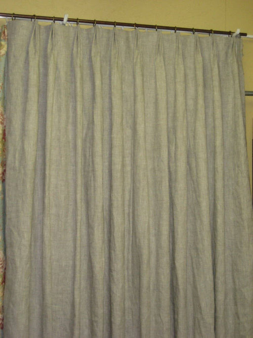 Linen Drapery Panels-Double Width Drapery Panels-Lined Curtains-One Pair Double Width Linen Drapes-Blackout Interlining-White Drapery Lining