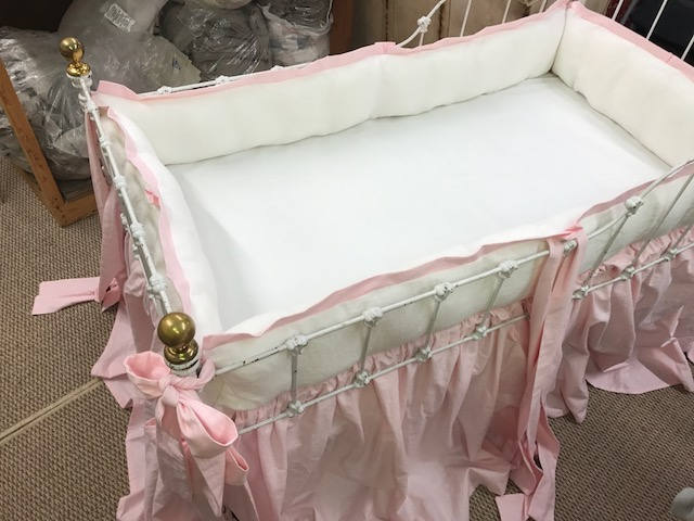 Southern Pink and Vintage White Washed Linen Tailored Crib Bedding-----Tailored Baby Bumpers with Sash Ties--Storybook Crib Skirt