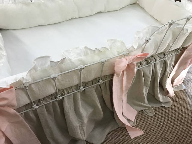 Washed Linen Nursery-Oatmeal Handkerchief-Vintage White-Baby Pink-Ruffled Bumpers-Storybook Crib Skirt-Crib Bows-Custom Crib Linens