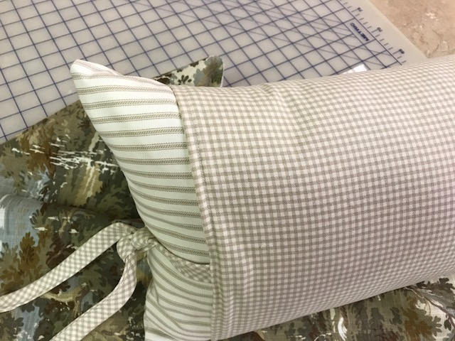 Decorative Ticking and Check Pillow - Mix and Match Fabric Pillow Sham-Removable Insert Included-12x20 Pillow with Removable Pillow Sleeve