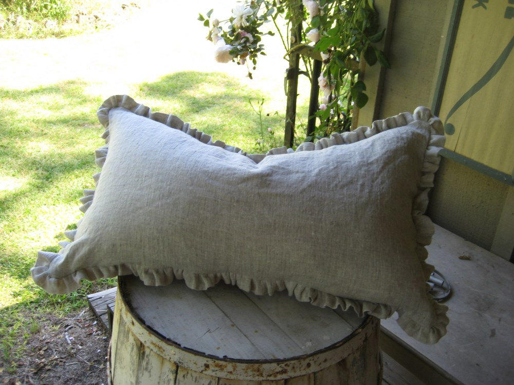 READY TO SHIP-Pair of Bed Pillow Shams-Oatmeal Washed Linen-One Inch  Ruffled 20x26 Washed Linen Pillow Shams- Zip Closures