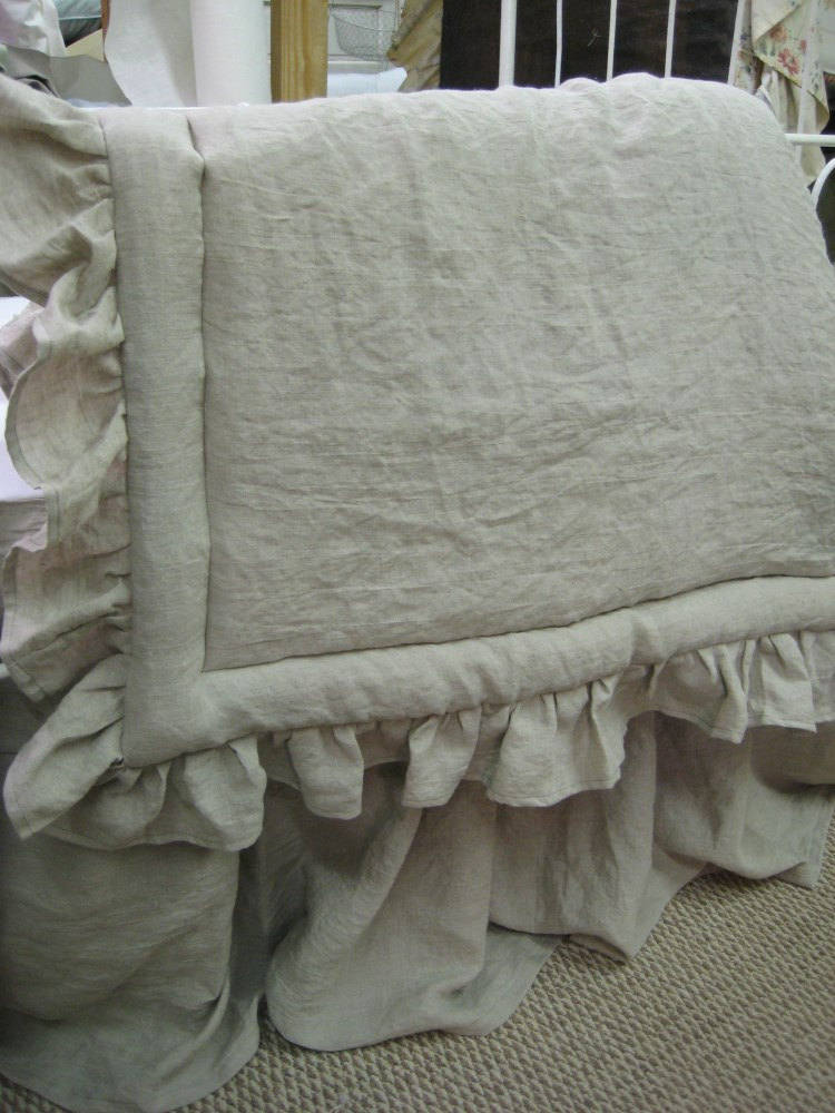 Washed Linen Ruffled Blanket and Gathered Crib Skirt -Your Linen Color Choice-Baby Gift-Washable Crib Linens---Natural Flax Linen Nursery