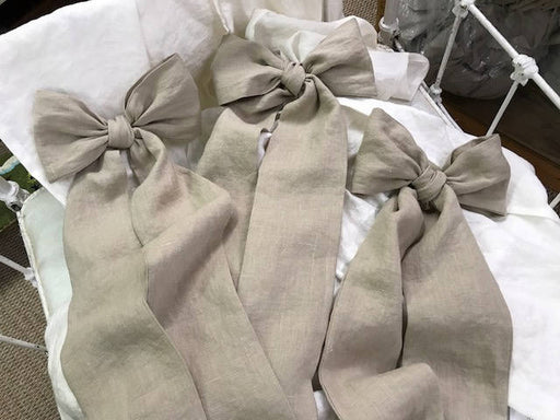 Pebble Washed Linen Crib Skirt and 3 Crib Bows-Casual Washed Linen Crib Bedding-Storybook Crib Skirt-Set of 3 Over Sized Crib Bows/Sashes