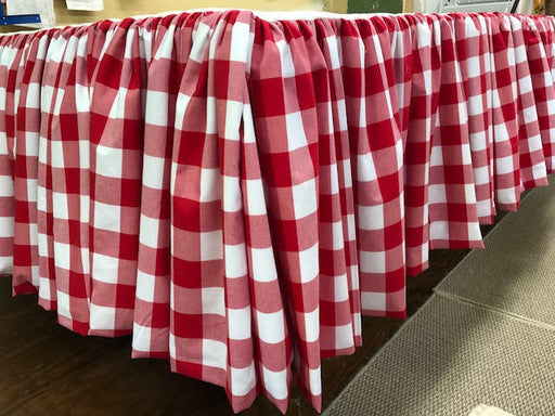 Custom Home Decor Sewing Fee Only-Buffalo Check Gathered Bed Skirt-Fabric Provided by Client-Gathered Bed Skirt - Queen Bed Size