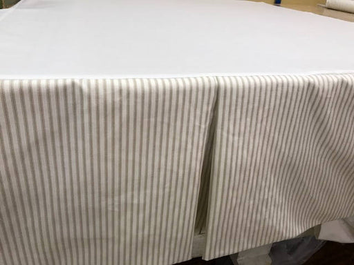 Tailored Bed Skirt - Cotton Ticking - Bed Skirt with Center Inverted Box Pleat Detail