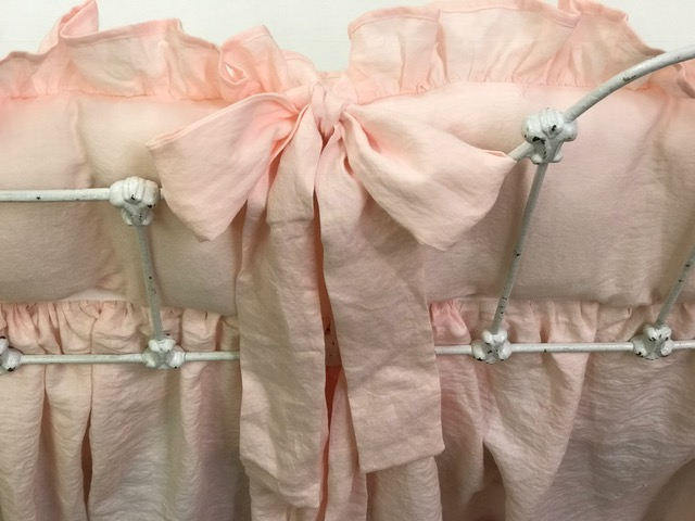 Washed Linen Crib Bedding in Baby Pink----Ruffled Crib Bumpers-Storybook Crib Skirt