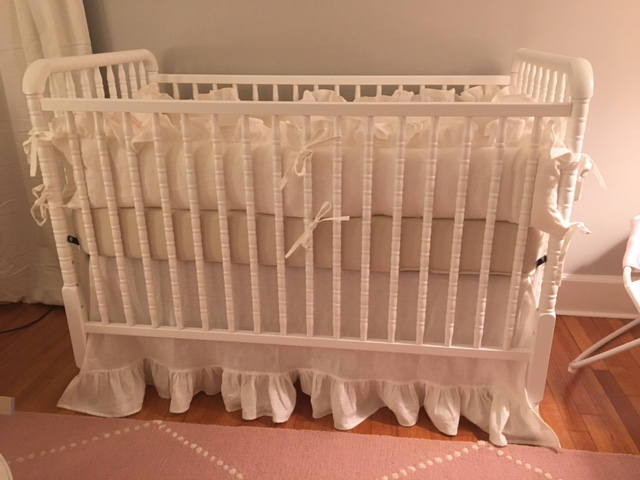"Ruffled Crib Bedding in Vintage White Washed Linen---3"" Ruffled Bumpers-Straight Panel Skirt with 5"" Ruffled Hem-Tiny Ties-3 Over Sized Bows"