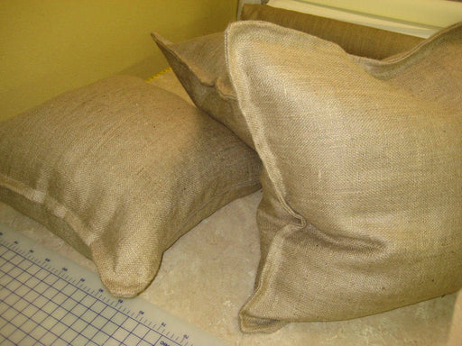 Three Tailored Burlap Euro Shams-Zip Closure Euro Shams-Natural Burlap Tailored Euro Shams-26x26