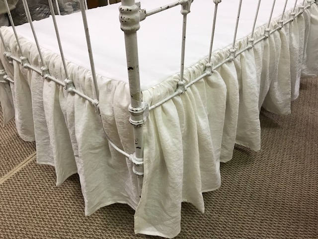 "Washed Linen Crib Skirt and Ruffled Crib Pillow-Gathered Crib Skirt-Bright White Washed Linen-16"" finished length-Ruffled Crib Pillow"