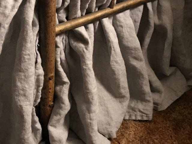 "Washed Linen in Grey-Queen Bed Skirt-Gathered Bed Skirt with 16"" Finished Drop Length"