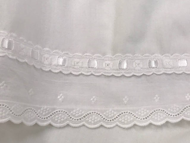 Vintage House of Hatten Nursery Linen-Flat Baby Sheet in White - White Cotton Eyelet Trim