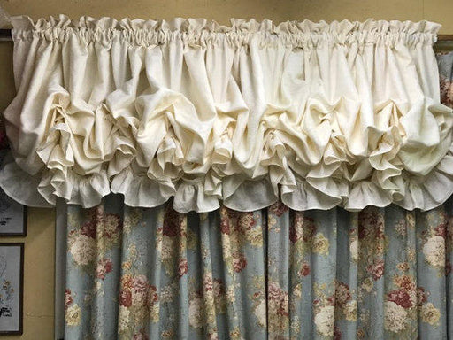 Custom Balloon Shade for Large Window--Rod Pocket Balloon Shade with Ruffled Header-Wide Window Balloon Shade--Non-Functional Ruffled Shade