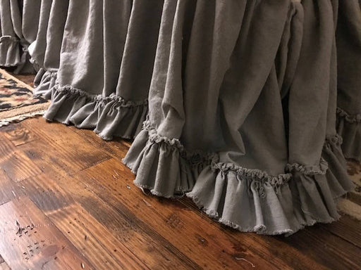 Torn Ruffle Bed Skirt in Grey Washed Linen - Gathered Bed Skirt with Torn Ruffle - Frayed Ruffle