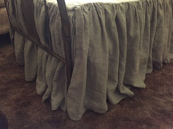 "Bed Skirt in Washed Linen-20"" Length-Optional Sizes and Linen Colors Available-Made to Order---Gathered Bed Skirt in Washed Linen"