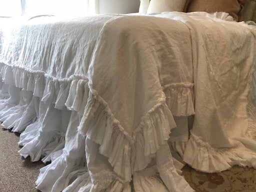 Torn Ruffle Duvet-Torn Ruffle Bed Skirt in Bright White Washed Linen-White Velvet Trim Detail-2 Long Ruffled Pillow Shams size 20x26