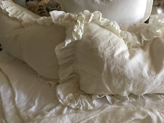 Pair of Long Ruffled Pillow Shams---White Washed Linen Ruffled Shams--Body Pillow Shams-Standard-Queen-King-Crib-Made to Order Bed Linens