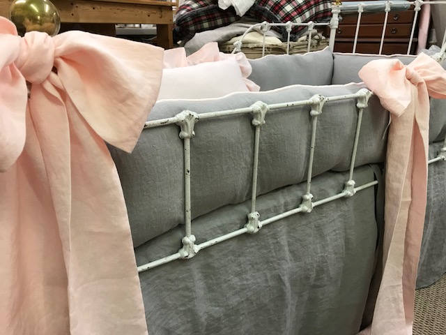 Tailored Crib Bedding in Washed Grey Linen-Tailored Bumpers with Piping Detail in Baby Pink-Tailored Crib Skirt-Tiny Ties-3 Crib Bows-Pillow