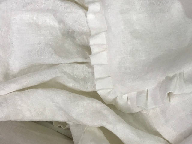 Ready to Ship- Vintage White Washed Linen- Pair of Ruffled Euro Shams for 26x26 Insert-Romantic Side Ruffles