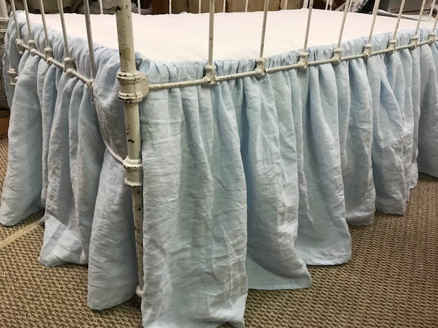 "Washed Linen LINED Gathered Crib Skirt-Your Color Choice and Length Request up to 25"" - Washable Crib Linens Made to Order"