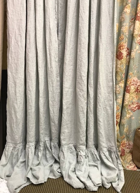 One Pair of Ruffled Washed Linen Curtains in the color Dove-Rod Pocket Ruffled Curtains-Unlined Curtains-2 Ruffled Panels