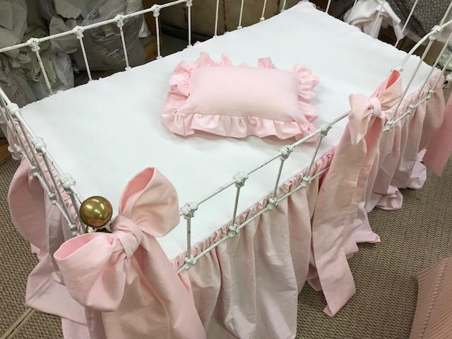 Made to Order-Crib Bedding Separates in Southern Pink Washed Linen-Gathered Crib Skirt-3 Crib Bows-Ruffled Crib Pillow with Removable Insert