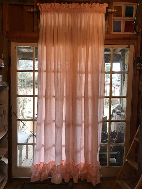 Linen Ruffled Hem Curtains-One Pair-Two Panels-Single Width Curtains or Double Width for Extra Wide Windows-Unlined-Ruffled Hem Detail