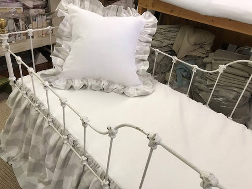 Buffalo Check Nursery in French Grey and White---Gathered Crib Skirt-Ruffled Pillow Sham-Ruffled Rail Cover