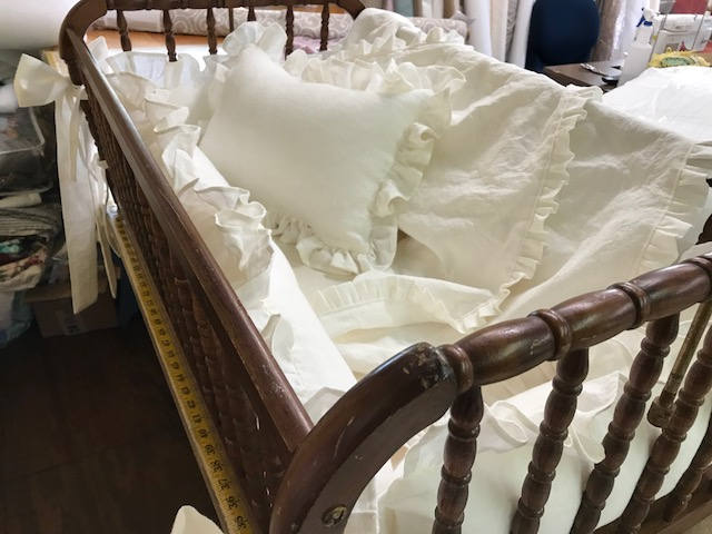 "Washed Linen Cradle Bedding-1"" Ruffled Bumpers with Tiny Ties and 4 Sash Separates-Removable Bumper Pad Inserts-American Made Nursery Linens"