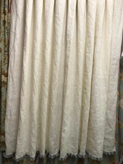 Linen Shower Curtain With 1 Ruffled Hem Lined Cream Grey